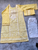 Pakistani Printed Lawn Dress Cotton-Yellow
