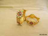 KUNDAN RUBY GREEN ANTIQUE BANGLE