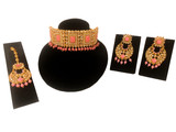 Kundan Polki Choker Necklace Set Peach
