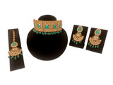Kundan Polki Choker Necklace Set Green
