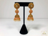 Glass Stone Tample Jhumka Earrings Peach