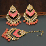Meenakari Maang Tikka With Earrings Magenta