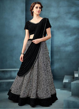 Reception Wear Embroidery Work Jacquard Grey Stitched Lehenga Choli
