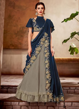 Silk Reception Wear Thread Work Stitched Lehenga Choli
