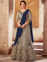 Embroidery Work Stitched Brown Lehenga Choli