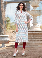Straight Cut Rayon Printed Kurti White (Kurti Only)