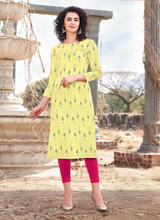 Designer Straight Cut  Printed Kurti Light Yellow