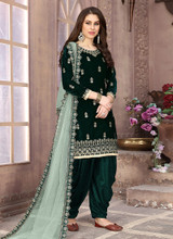 Velvet Embroidery Dark Green Patiala Suit