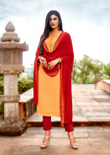 Viscose Designer Fancy Salwar Kameez Orange