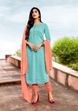 Viscose Designer Fancy Salwar Kameez Blue