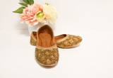 Golden Stone Women Handcrafted Mojari