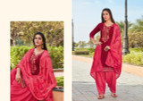 Cotton Silk Patiyala Suits Ruby Pink