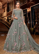 Royal Designer Floral Work Anarkali Suit-Grey