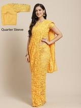 Net Lycra Embellished Designer Saree Dark Yellow