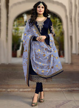 Straight Purple Faux Georgette Salwar Kameez