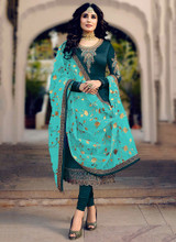 Teal Blue Faux Georgette Straight Salwar Kameez Satin