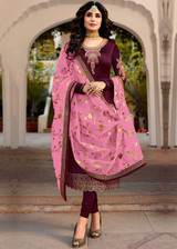 Straight Faux Georgette Satin Salwar Kameez Purple