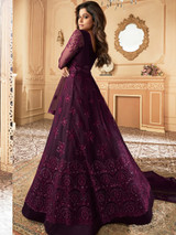Heavy Wine Embroidery Work Net Anarkali Suit