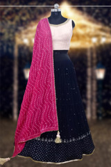 Fancy Wedding Lehenga Choli Navy Blue