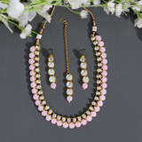 Pink Color Kundan Necklace Set