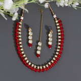 Red Color Kundan Necklace Set