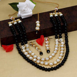 Black Color Kundan Necklace Set