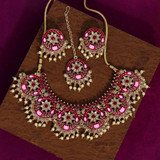 Maroon Color Kundan Mint Meena Necklace Set