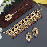 Blue Color Kundan Necklace Set