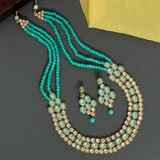 Rama Green Color Kundan Necklace Set