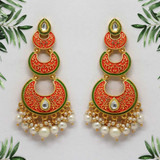 Dark Peach Color Mint Meena Earrings