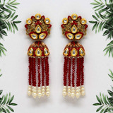 Maroon Color Kundan Antique Earrings