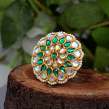 Green Color Kundan Ring For Women