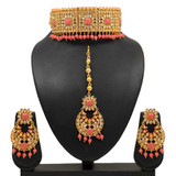 Pink Kundan Polki Choker Necklace Set
