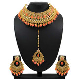 Kundan Polki Peach Color Choker Necklace Set