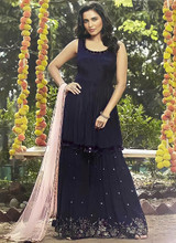 Navy Blue Hand Work Fancy Sharara Suit
