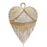 Women Tassel Evening Beaded Clutch Golden