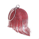 Red Rhinestone Round Ball Mini Tassels Clutch Bag