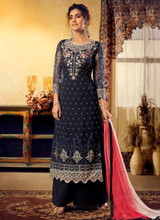 Navy Blue Designer Satin Georgette Palazzo Suit