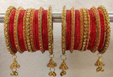 Red Bangles Jhumki And Jhumar Style