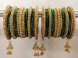 Dark Green Bangles Jhumki And Jhumar Style