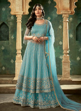 Gorgeous Embroidery Light Blue Lehenga Anarkali