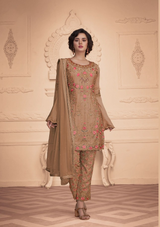 Gorgeous Embroidery Designer Suit Beige