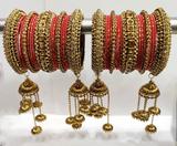 Red Bridal Jhumki And Jhumar Style Bangle