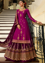 Magenta Embroidery Zari Work Designer Kurti-Skirt Suit