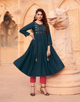 New Printed Gown Style Kurti (Kurti Only)