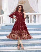 Printed Gown Style Kurti Maroon (Kurti Only)