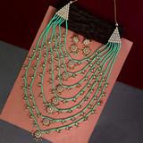 Seven Layer Kundan Necklace Set Pista Green