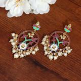 Purple Color Gorgeous Meenakari Earrings