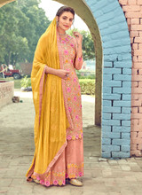 Peach Georgette Embroidery Palazzo Suit