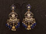 Designer Antique Jhumka Earrings Blue